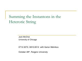 Summing the Instantons in the Heterotic String