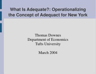 What Is Adequate?: Operationalizing the Concept of Adequact for New York