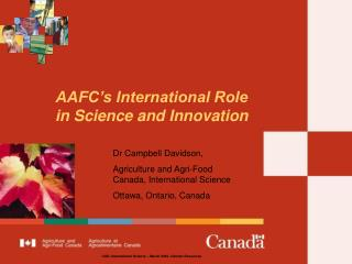 AAFC's International Role  in Science and Innovation