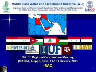 WLI 1st Regional Coordination Meeting ICARDA, Aleppo, Syria, 13-15 February, 2011 IRAQ