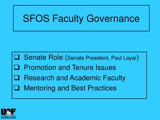 SFOS Faculty Governance
