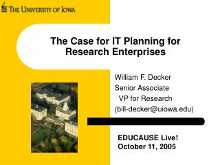 The Case for IT Planning for  Research Enterprises