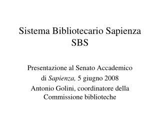 Sistema Bibliotecario Sapienza SBS