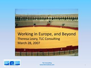 Working in Europe, and Beyond Theresa Leary, TLC Consulting March 28, 2007