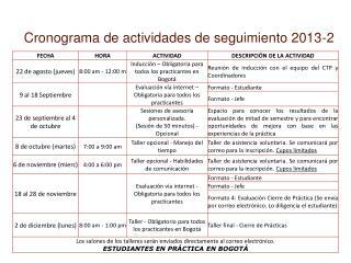 Cronograma de actividades de seguimiento 2013-2