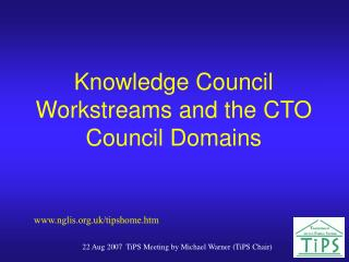 Knowledge Council Workstreams and the CTO Council Domains