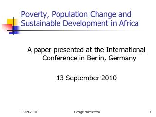 Poverty, Population Change and Sustainable Development in Africa