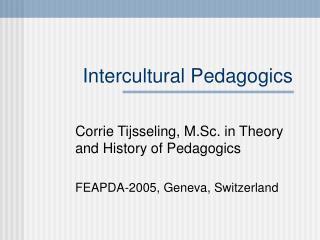 Intercultural Pedagogics
