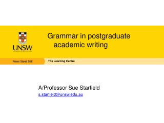 Grammar in postgraduate academic writing