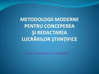 Prof. CONSTANTIN IONESCU