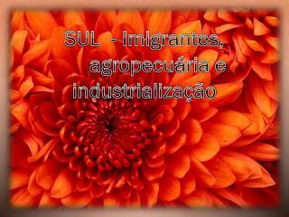 SUL  - Imigrantes,      agropecuária e     industrialização
