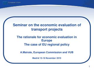 Seminar on the economic evaluation of transport projects