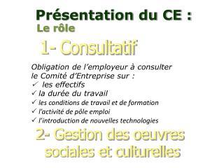 Obligation de l'employeur à consulter le Comité d'Entreprise sur :    les effectifs