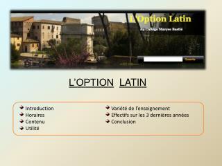 L'OPTION LATIN
