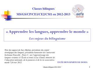 Classes bilingues MS/GS/CP/CE1/CE2/CM1 en 2012-2013