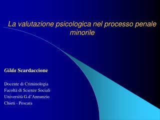 La valutazione psicologica nel processo penale minorile