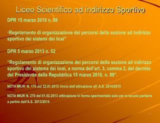 Liceo Scientifico ad indirizzo Sportivo
