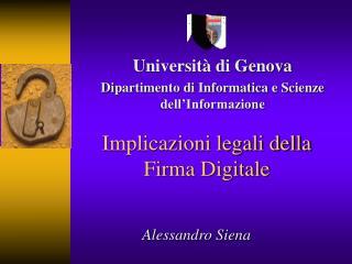 Implicazioni legali della Firma Digitale