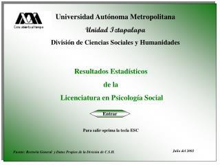 Universidad Autónoma Metropolitana Unidad Iztapalapa División de Ciencias Sociales y Humanidades