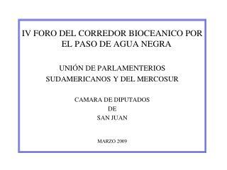 IV FORO DEL CORREDOR BIOCEANICO POR EL PASO DE AGUA NEGRA UNIÓN DE PARLAMENTERIOS