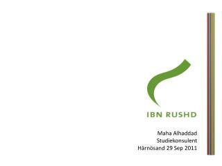 Maha Alhaddad Studiekonsulent Härnösand 29 Sep 2011