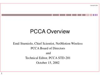 PCCA Overview