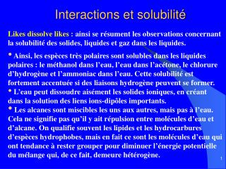 Interactions et solubilit
