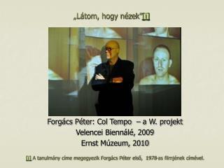 Forgács Péter: Col Tempo  – a W. projekt Velencei Biennálé, 2009 Ernst Múzeum, 2010