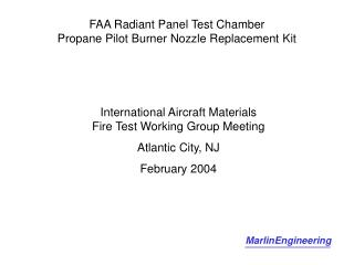 FAA Radiant Panel Test Chamber Propane Pilot Burner Nozzle Replacement Kit