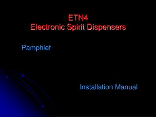 ETN4 Electronic Spirit Dispensers