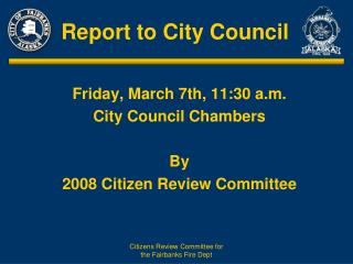 Report to City Council