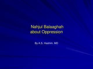 Nahjul Balaaghah about Oppression