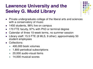 Lawrence University and the Seeley G. Mudd Library