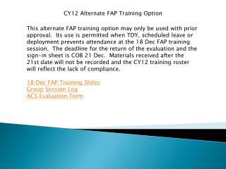 CY12 Alternate FAP Training Option