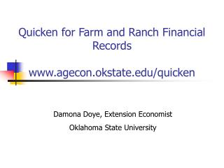 Quicken for Farm and Ranch Financial Records  agecon.okstate