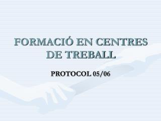 FORMACIÓ EN CENTRES DE TREBALL