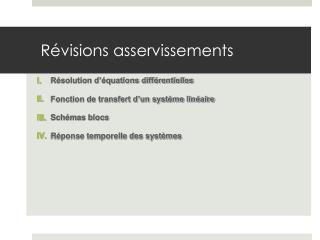 Révisions asservissements