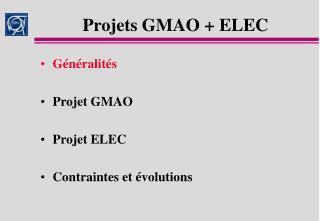 Projets GMAO  ELEC