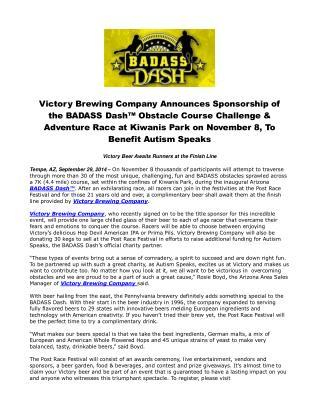 Victory Brewing Company Announces Sponsorship of the BADASS