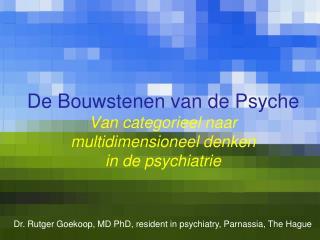 De  Bouwstenen  van de Psyche Van  categori eel naar multidimensioneel denken in de  psychiatrie