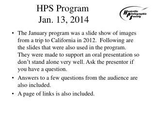 HPS Program  Jan. 13, 2014
