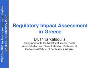 Regulatory Impact Assessment in Greece