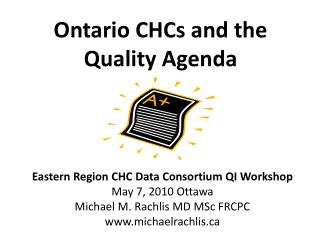 Ontario CHCs and the Quality Agenda