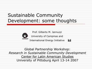 Sustainable Community Development: some thoughts