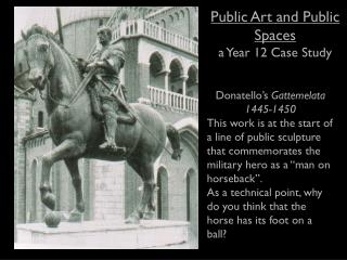 Public Art and Public Spaces a Year 12 Case Study