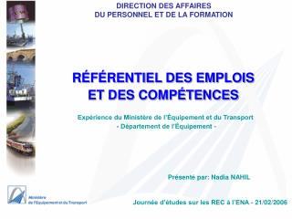 DIRECTION DES AFFAIRES  DU PERSONNEL ET DE LA FORMATION