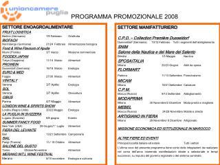 PROGRAMMA PROMOZIONALE 2008