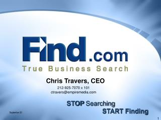 STOP  Searching                     START Finding