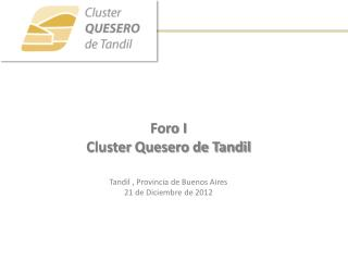 Foro I Cluster  Quesero de Tandil Tandil , Provincia de Buenos Aires 21 de  Diciembre  de 2012
