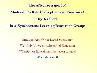 The Affective Aspect of Moderator's Role Conception and Enactment  by Teachers